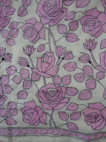 Tussar,Silk,Kantha,Saree,with,Pink,Roses,NakshiKantha saree, Kantha saree, Tussar Silk Saree, Hand embroidered Saree