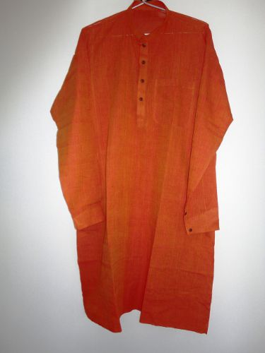 Mens Designer Long Kurta Shirt in Handwoven Mangalgiri Cotton - Custom made - product image