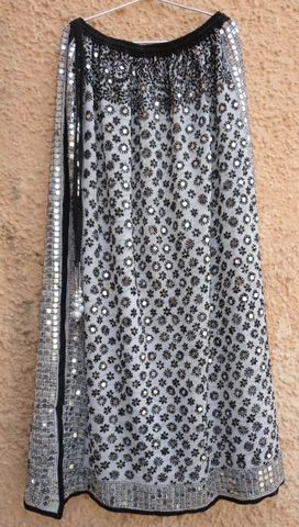 Bohemian,Indian,Gypsy,Skirt,for,Girls,in,Georgette,Girls skirt, skirt for women, long skirt, Indian gypsy skirt, hand embroidered skirt, boho gypsy skirt, banjara skirt, fabstolesnmore, Georgette Skirt, Traditional Gypsy Skirt