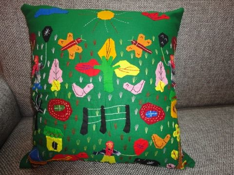 Fun,and,Frolic,Mini,Patchwork,Green,Cushion,Cover,handcrafted, cushion, cotton, applique, patchwork