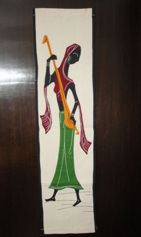 Woman,Playing,Ektara,Musical,Instrument,Wall,Hanging,wall hanging, handcrafted, applique, patchwork, ethnic