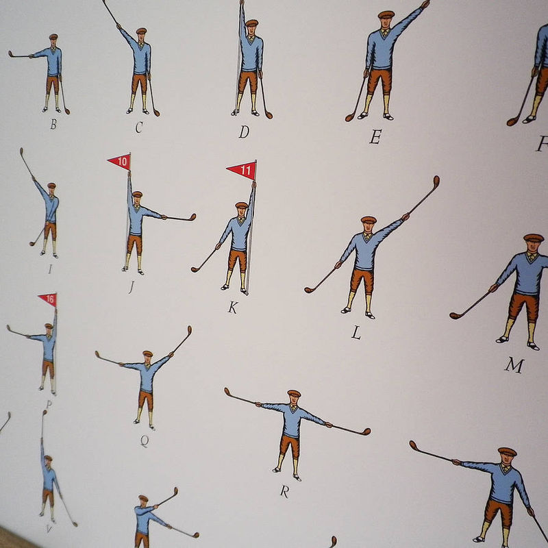 Golfing Semaphore Alphabet Print (Useful for communicating on the course!) - product images  of