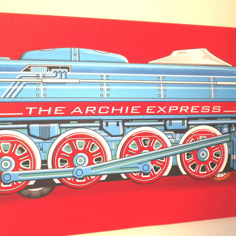 Personalised Name and Date Tin Toy  Express Train Canvas Print - product images  of