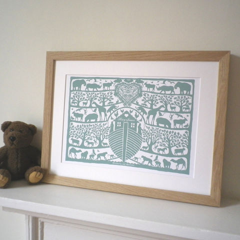 Personalised,Christening,,Baptism,or,New,Baby,Noah's,Ark,Heart,Print,Art,Digital,Christening_Present,Baptism_Present,Birth_Date_Present,Folk_Art,Papercut,Silhouette,Noahs_Ark,Childrens_Room,Animals,Biblical,Lake_Green,New_Baby
