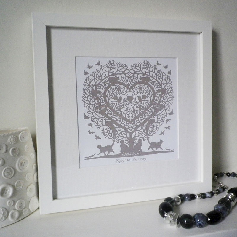 "Personalised Cat Lovers ""Cats in a Treeheart"" Folk Heart Inspired Print - product images  of"