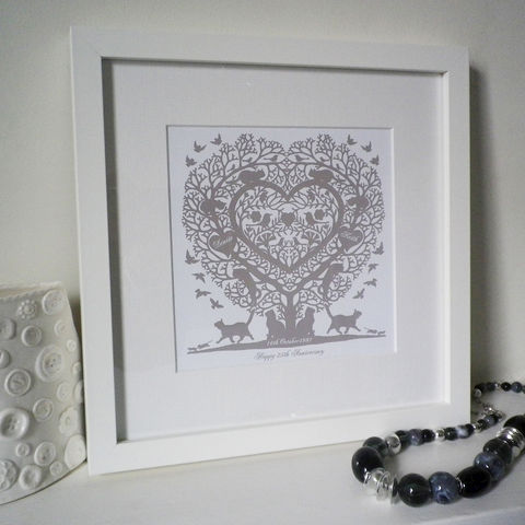 Personalised,Cat,Lovers,Cats,in,a,Treeheart,Folk,Heart,Inspired,Print,Art,Giclee,folk_art,cats,heart,love_token,anniversary,christening,papercut,paper_anniversary,wedding,personalised,gift_for_her,valentine_gifts,birthday