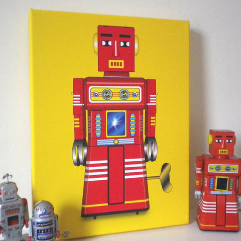 Sparking,Robot,Canvas,Print,Art,Illustration,Pop,print,robot,tin_toy,digital,boys_room,decoration,ornament,pop_art,peter_blake,andy_warhol,yellow,red,retro