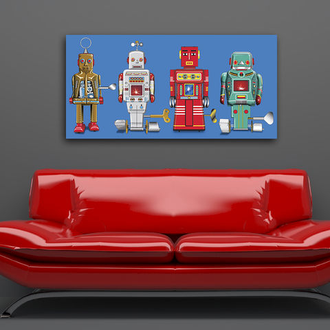 4,Robots,Canvas,Print,Art,Illustration,Pop,illustration,canvas_art,tin_toy_art,tin_toy,pop_art,robot,modern,primary_colours,andy_warhol,peter_blake,boys_room,retro,blue