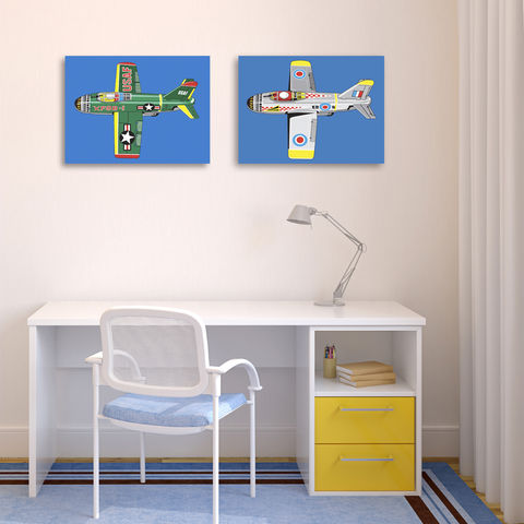 USAF,Jet,Canvas,Print,Art,Illustration,Pop,digital,tin_toys,jet_aeroplane,pop_art,boys_room,modern,colourful,primary_colours,peter_blake,andy_warhol,retro,blue