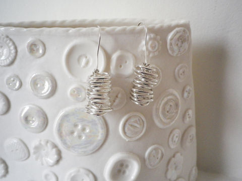 Square,Spiral,Sterling,Silver,Earrings,Jewelry,Metal,Original,Drop,Casual,London,Bath,Shiny,British,Contemporary,Modern,Hand_crafted,Spring,Gift_for_her