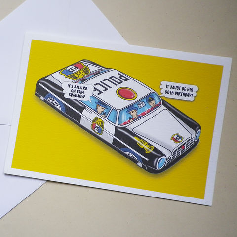 Personalised,A.P.B.,Highway,Patrol,Card,Personalised Gift Card, Police, Highway Patrol, Humorous, Tin Toy, Card for a dad