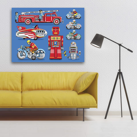 Tin,Toy,Art,Picture,No,1,Canvas,Print,Illustration,Pop,pop,print,tin_toys,modern_art,boys_room,decoration,canvas_print,andy_warhol,peter_blake,blue,retro,robots,red