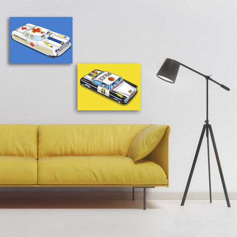 Tin,Toy,Ambulance,Pop,Art,Canvas,Print,Illustration,digital,pop,tin_toy_art,canvas_print,andy_warhol,peter_blake,tin_toy,tin_car,ambulance,doctor,nurse