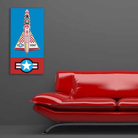 USAF,Jet,with,Star,Insignia,Art,Illustration,Pop,illustration,pop_art,canvas_art,tin_toy_art,jet,boys_room,modern,primary_colours,andy_warhol,peter_blake,tin_toy,retro,blue