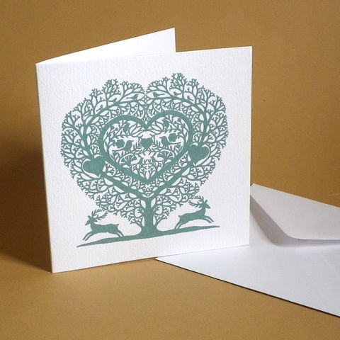 Tree,Heart,Christmas,Card,Paper_Goods,Christmas Cards,Stags,Folk Art