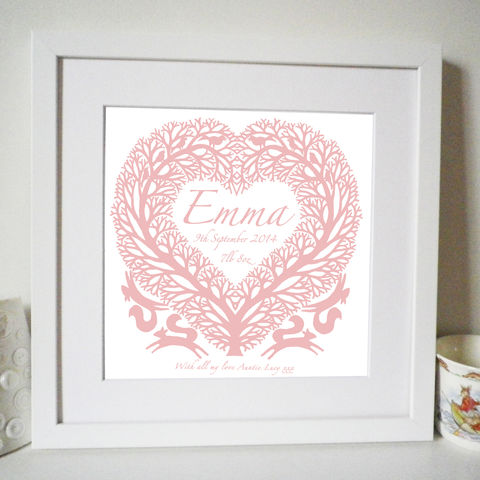 Personalised,New,Baby,or,Christening,Tree,Heart,with,Squirrels,Print,Art,Giclee,folk_art,heart,new baby,christening,baptism,naming,papercut,silhouette,paper_anniversary,wedding,valentine_gift,gifts_for_her,i_love_you,mother's_day