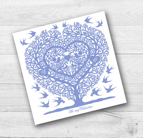 Personalised,Love,Birds,Valentine,,Anniversary,Or,Engagement,Card,Paper_Goods,Cards, Valentine,Wedding, Anniversary,Birthday,Heart,Folk_Art,Blue birds