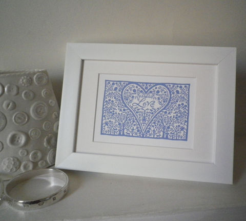 Miniature,Folk,Art,Prints,(Landscape),Print,Giclee,White_Frame,Folk_Art,Hearts,Housewarming,Birthday,Valentine,Gift_for_her,Dinner_Party_Gift,With_Love,Love_Token,Silhouette,Papercut