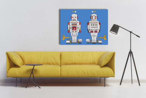 Sparking,Silver,Robot,Canvas,Print,Art,Illustration,Pop,pop,print,tin_toys,modern_art,boys_room,decoration,canvas_print,andy_warhol,peter_blake,blue,retro,robots,red