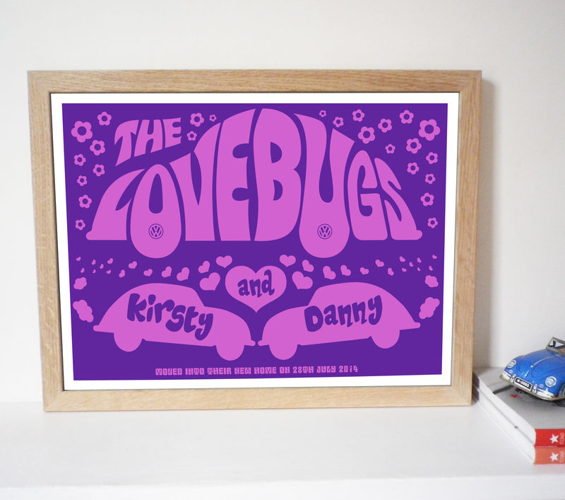 Personalised 'Lovebugs' Wedding, Engagement Or Anniversary Print - product images  of