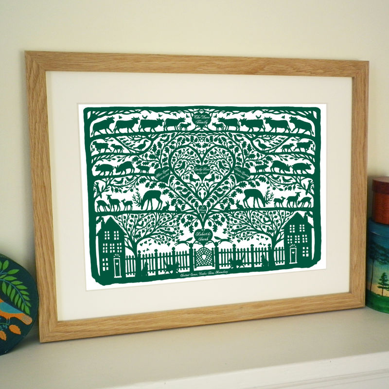 Personalised Christmas Country Folk Art Heart Print - product images  of