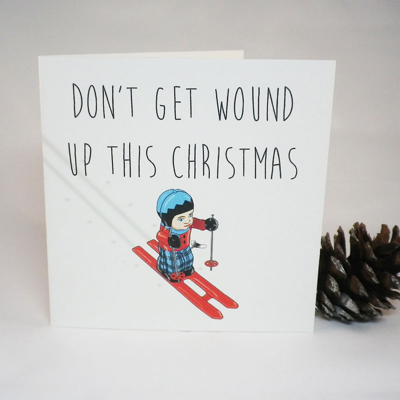 Don't get wound up skier Christmas card - product images  of