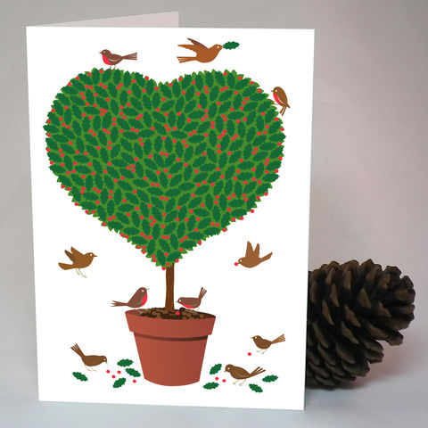 Topiary,Heart,Christmas,Card,Paper_Goods,Christmas Cards, Heart,