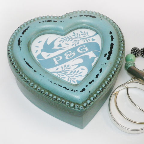 Personalised,Shabby,Chic,Painted,Heart,Shaped,Trinket,Box,Jewellery Box, Trinket Box, Keepsake Box, Shabby Chic, Heart, Personalised Gift for Mum
