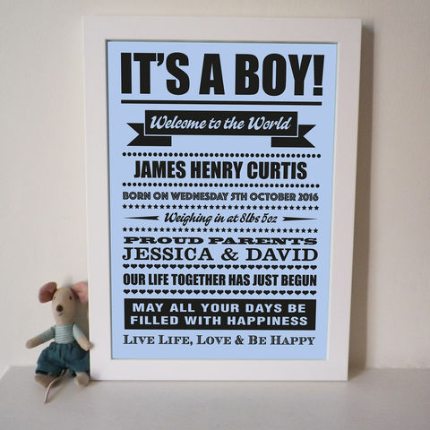 Personalised,New,Baby,Boy,Print,Personalised New Baby Boy Print