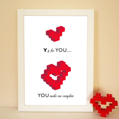 Lovers,Building,Block,You,Make,Me,Complete,Heart,Print,Valentine Print, Heart Print, Lego, Building Blocks, Graphic Print, Anniversary, Engagement, Birthday, Wedding