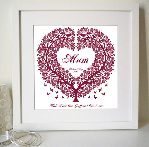Personalised,Mum's,Rose,Tree,Heart,Print,Personalised Print, Wedding Gift, Anniversary Gift, Engagement Gift, Paper Anniversary, Roses, Folk Art Heart, Folk Art Print, Papercut Style, Silhouette