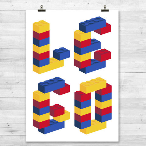 Building,Brick,Word,Print,Graphic Print, Love Print, Lego, Building Blocks, Pop Art. Modern