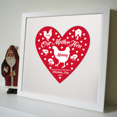 Personalised,Christmas,Mother,Hen,Print,Christmas Mother's Gift, Personalised Mum Gift, Mum Heart Print, Gift for mum from children, Mother Hen Print