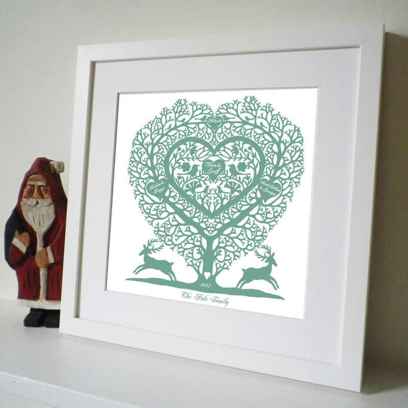Personalised Christmas Family Tree Heart Print - product images  of