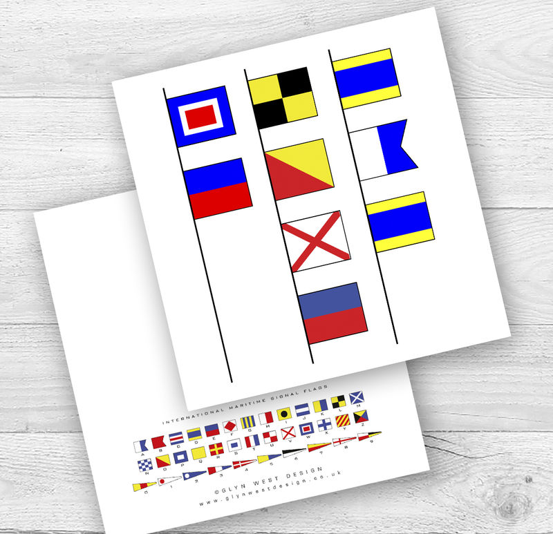 Signal Flags I Or We Love Dad Birthday Card