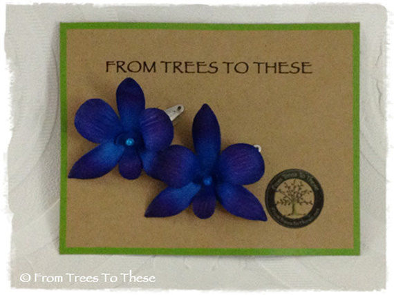 Blue Dendrobium Orchid Hair Pins (2) - product images