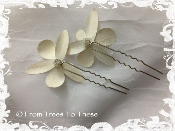 Ivory Dendrobium Orchid Hair Pins (2) - product images  of