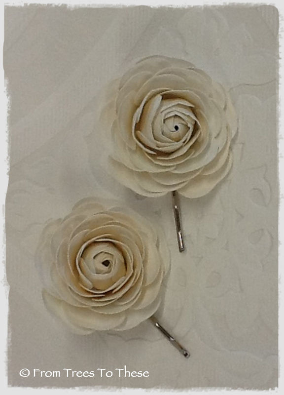Blush Ranunculus Hair Pins (2) - product images  of