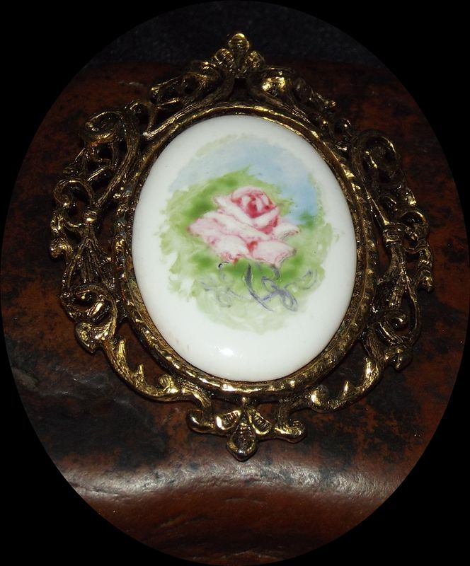 Rose Cameo Brooch Framed Faith S Serendipity Vintage Jewelry