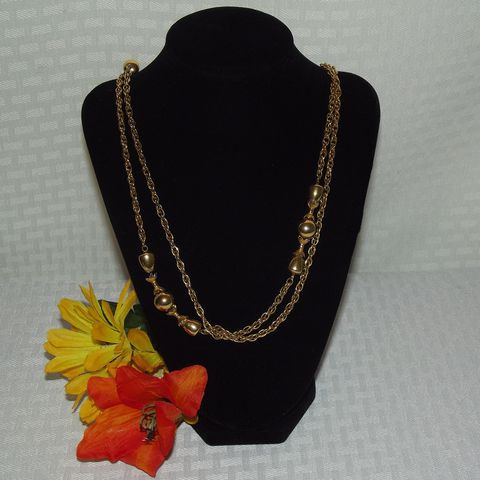Monet,Wheat,Chain,Necklace, Wheat Chain, Beads, Monet Necklace, Long necklace