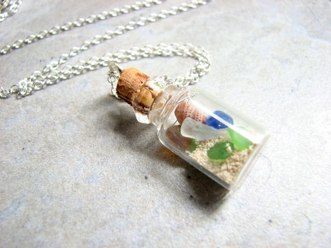 Beach,in,a,Bottle,Necklace,beach in a bottle, bottle necklace, sea glass necklace, bottle pendant, sand in a bottle, jar necklace, seaglass in a bottle, Shell jewelry, sea glass jewelry, nautical necklace, ocean necklace, ocean theme jewelry, beach jewelry,  small bottle jewelry