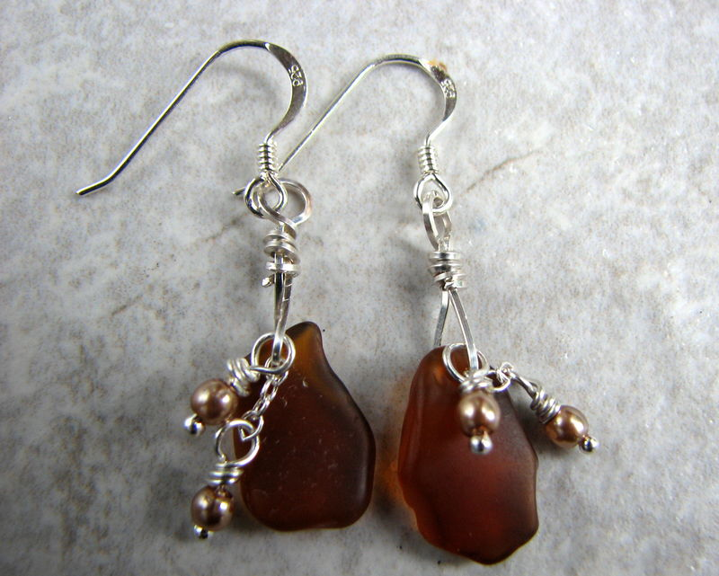 Amber Brown Sea Glass and Pearl Earrings - product images  of