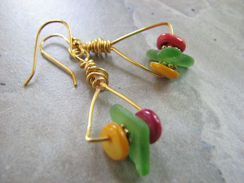 Sea,Glass,Multi,Color,Triangle,Gold,Hoop,Earrings,multi color Sea glass earrings, multi color earrings, triangle earrings, gold triangle earrings, triangle hoops, colorful sea glass jewelry, multicolor seaglass jewelry, handcrafted sea glass jewelry, gold triangle hoop earrings, dyed mother of pearl