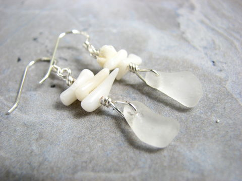 White,Coral,and,Sea,Glass,Sterling,Silver,Earrings,Sea Glass Earrings, Wire Wrapped Sea Glass, Sterling Silver Sea Glass, Seaglass Earrings, White Branch Coral, Coral Earrings, Handmade Beach Earrings,