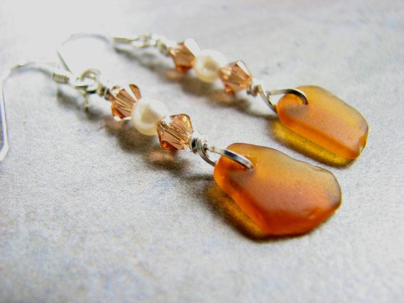 Crystal and Pearl Sea Glass Earrings in Amber Brown - product images  of