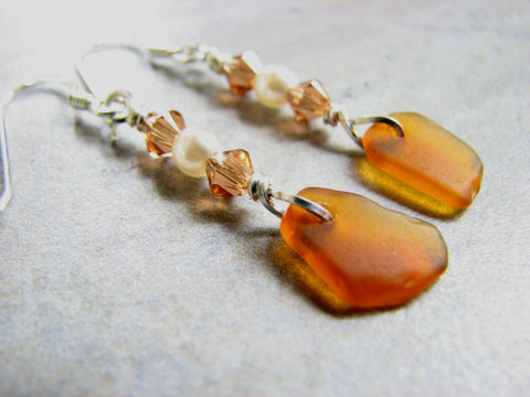 Crystal,and,Pearl,Sea,Glass,Earrings,in,Amber,Brown,amber, brown, genuine, real, authentic, sea glass, seaglass, beach glass, dangle earrings, brown sea glass earrings,  brown seaglass jewelry, amber sea glass jewelry, crystal and pearl sea glass earrings, beach jewelry, elegant