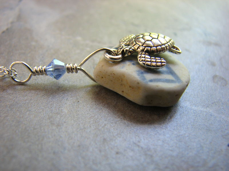Oriental Porcelain Sea Glass Necklace with Sea Turtle Charm - product images  of