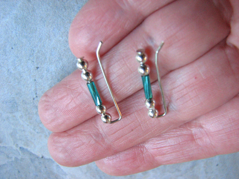 Teal and Silver Beaded Ear Climber Earrings - product images  of