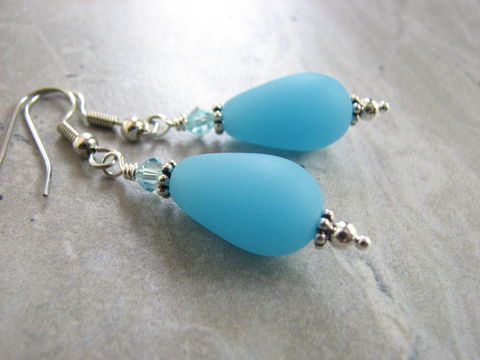Ice,Blue,Frosted,Glass,Teardrop,Dangle,Earrings,with,Crystals,Ice blue, light blue glass dangle earrings, crystal accent earrings, recycled sea glass, blue teardrop earring, ice blue jewelry, ice blue bead earring, man made sea glass jewelry