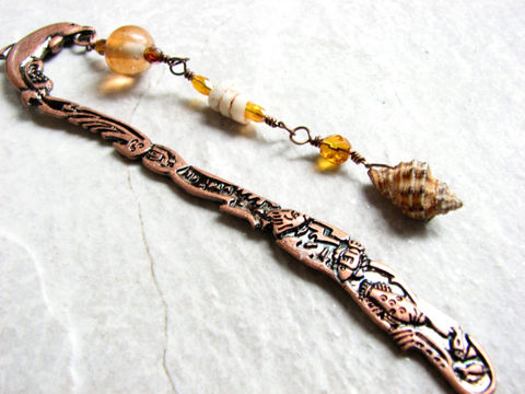 Beaded,Copper,Dolphin,Bookmark,with,Sea,Shells, beaded bookmark, copper bookmark, dolphin bookmark, sea shell bookmarks, book mark, page marker, beach bookmark, metal book mark, shepards hook, teacher gift, student gift, book lover gift, reading gifts, reading accessory, book accessory